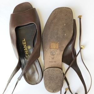 CHANEL Shoes - CHANEL Brown Leather Tie Back Flat Sandal